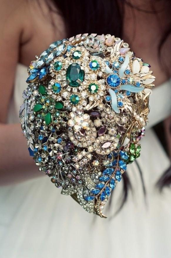 Bridal Bouquet Made Of Jewels : Jewel wedding bouquet luxury brooch