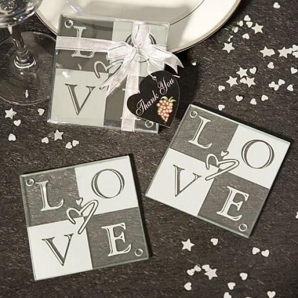 LOVE Glass Coasters Set Of 2 Wedding Favors 1180908