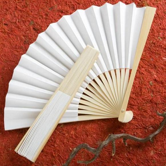Elegant White Folding Fans Wedding Favors 1180916