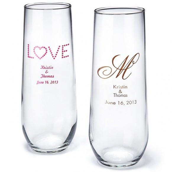 Wedding Gift Champagne Glasses : Wedding GiftsPersonalized Stemless Champagne Flute #1182015 ...