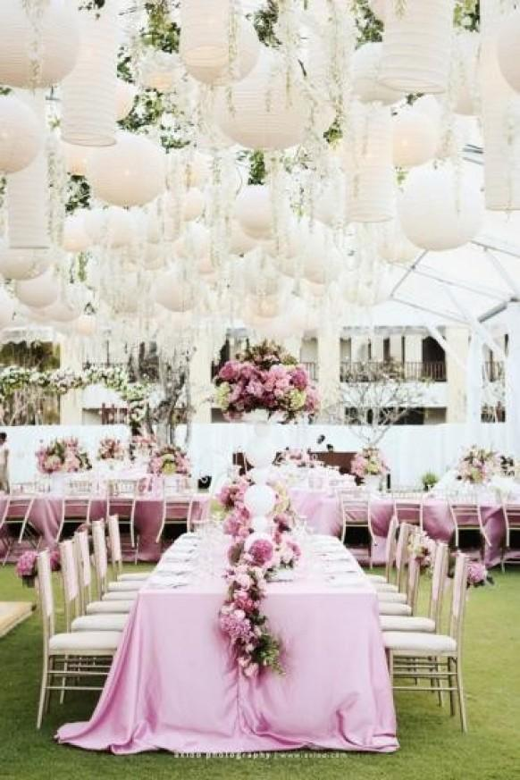 Pink Garden Wedding Decoration Chinese White Paper
