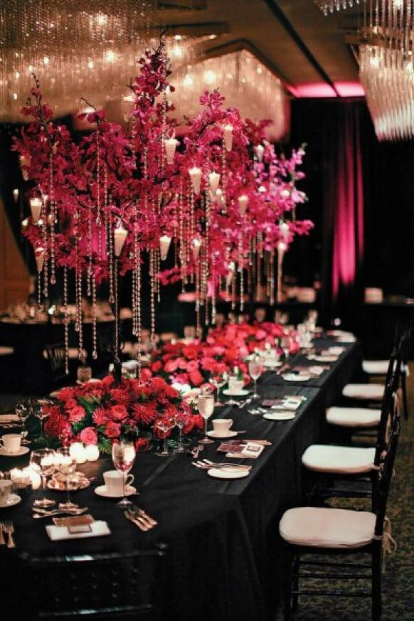 Pink and black wedding decor ideas centerpiece