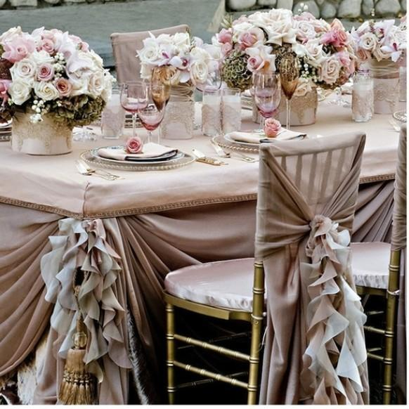 Pale Pink Ruffled Wedding Table Design Dream Wedding Decorations