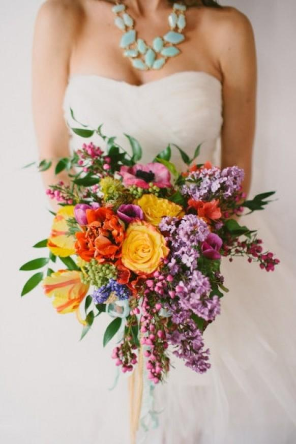 Wedding Bouquets Fresh Flowers : Colorful fresh flowers and lilac wedding bouquet weddbook