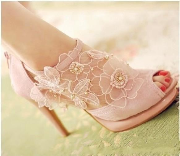 Light Pink Laced Shoes For Wedding #1927642