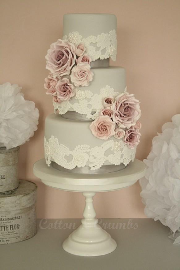 wedding cakes lace roses wedding cake 1987515 weddbook. Black Bedroom Furniture Sets. Home Design Ideas
