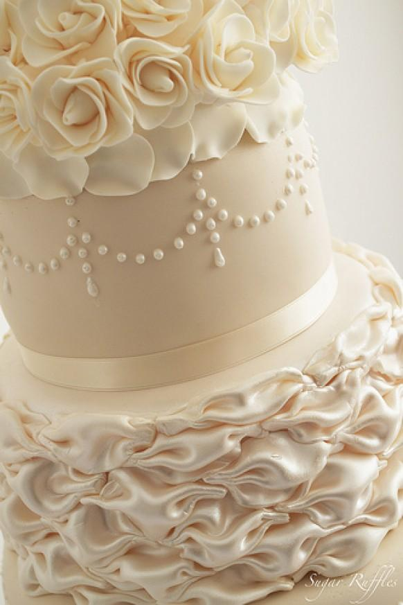 Ivory Champagne Wedding Cake