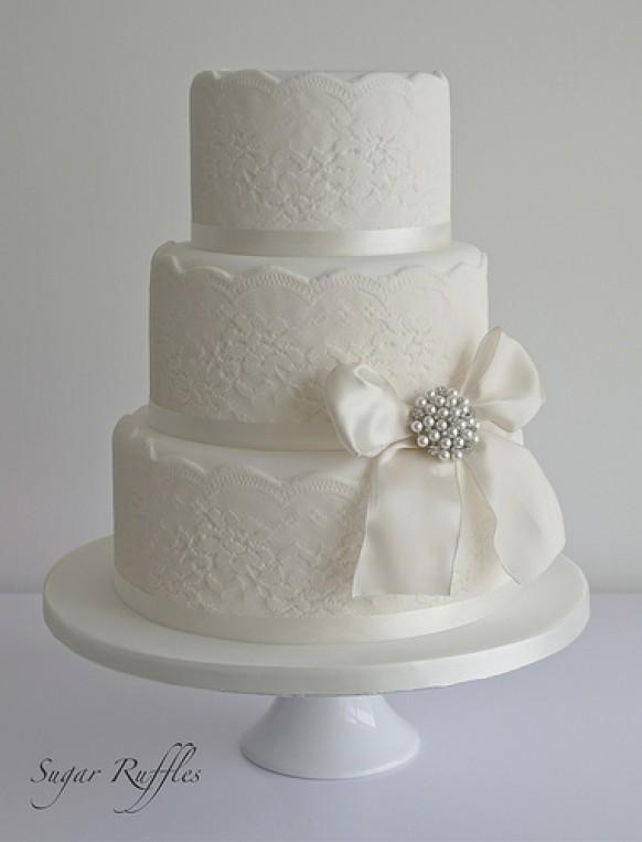 Lace Wedding Cake With Vintage Style Brooch #1987619 ...
