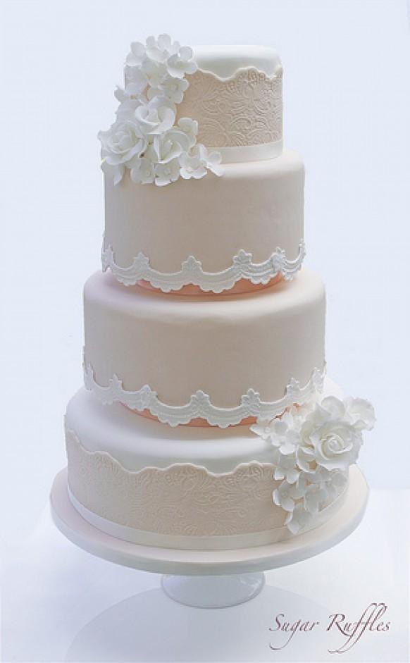 Peach Wedding Peach Lace Wedding Cake 1987621 Weddbook