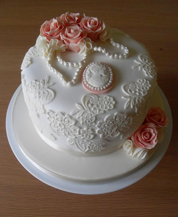 Vintage Wedding - Vintage Lace Birthday Cake #1987734 ...