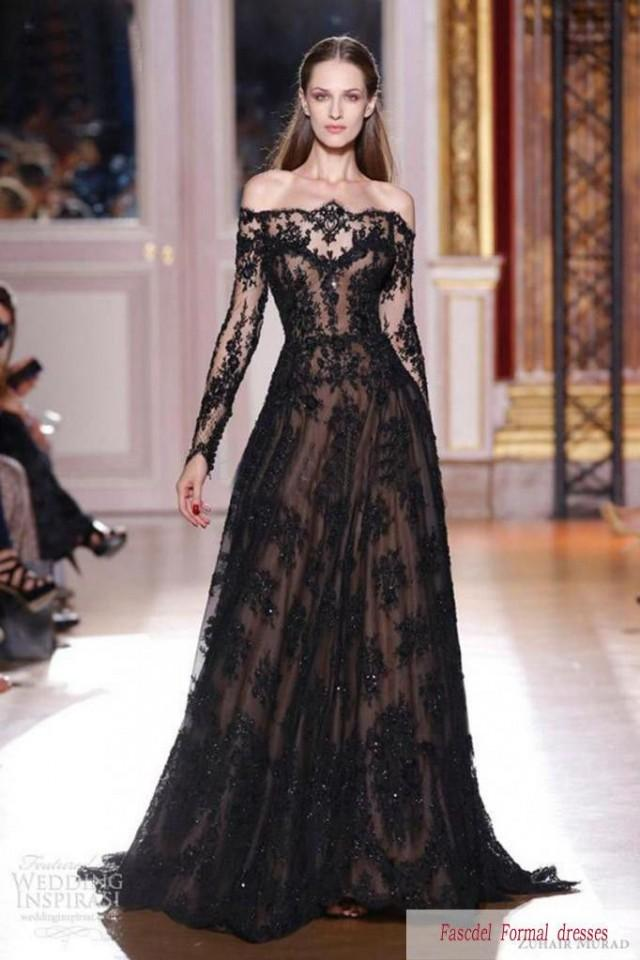 2014 new black lace a line long sleeve wedding dress bridal gown