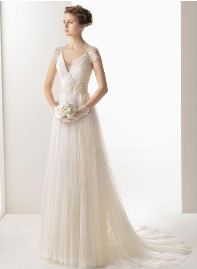 2014 New White Ivory A Line Wedding Dress Bridal Gown Size