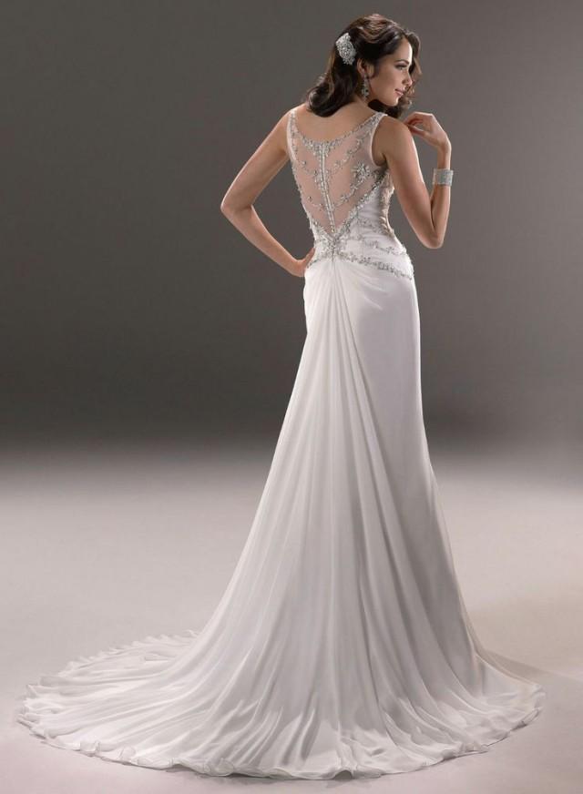 2014 new chiffon white ivory wedding dress bridal gown