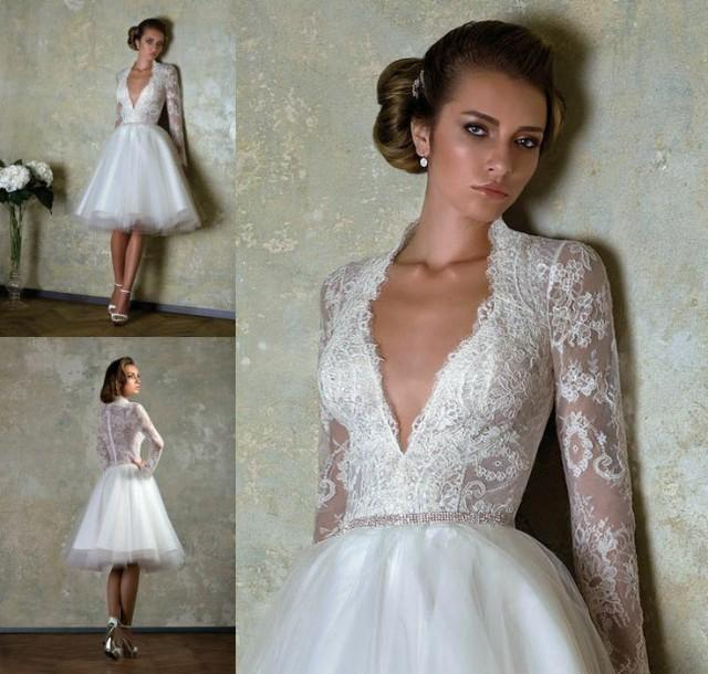 2014 New Short Custom Size Bridal Gown V Neck Lace Long Sleeve Wedding Dresses 2046627