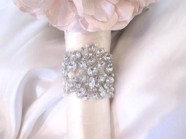 Bridal Wedding Flowers Bouquet Jewelry Beaded Embellishment Wrap 2053140
