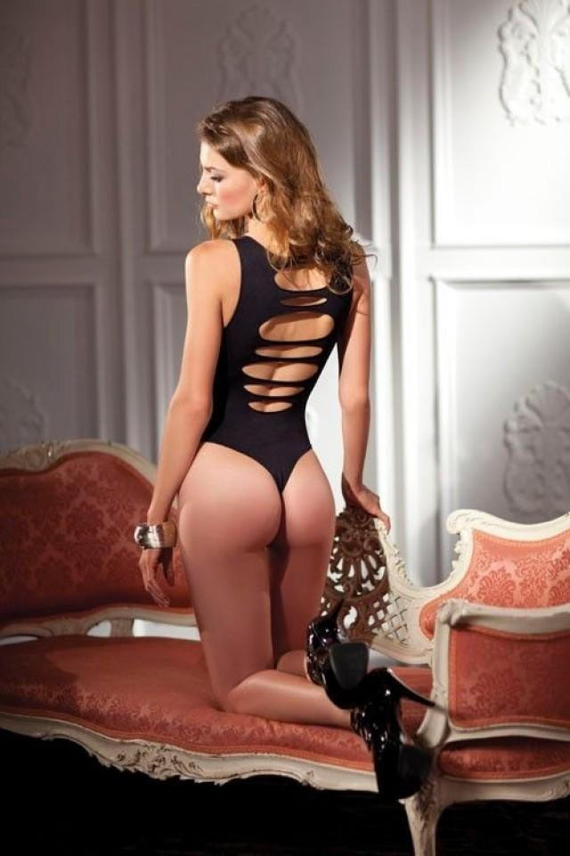 Sexy Opaque Black Cutout Back Thong Teddy Leotard Bodysuit Lingerie Hosiery 2053419