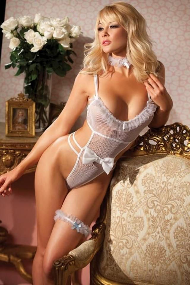 Sexy Bride 2pc White Mesh Ruffle Thong Teddy Garter Bridal