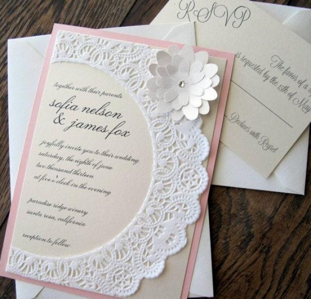 Vintage Shabby Chic Lace Doily Wedding Invitation 2065314