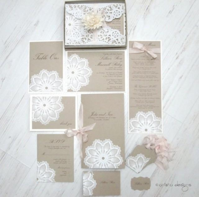 Lace wedding invitation card