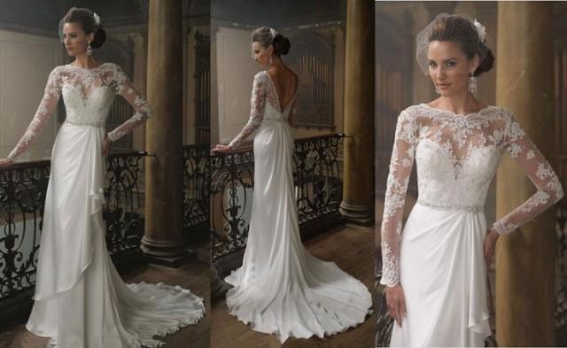 Round neck long sleeve v backless lace chiffon elegant for Lace long sleeve backless wedding dress