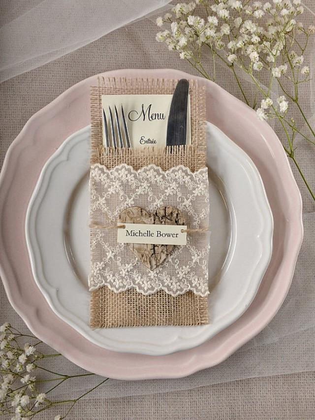 How To Set Silverware On The Table Part - 47: Custom Listing (10) LACE Silverware Holders, Rustic Burlap Silverware  Holders, Wedding Rustic Menu, Wedding Table Set, Rustic Escort Cart - New