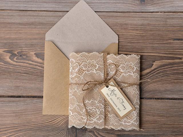 Custom Listing 100 Eco Recycling Lace Wedding Invitation – Rustic Wedding Invitations Burlap