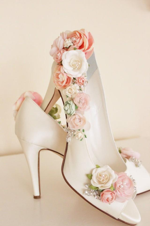 Whimsical Woodland Blush Flower Bridal Shoes Whimsical Wedding Shoes