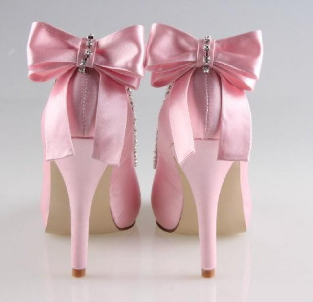 Handmade Soft Pink Bow Crystal Wedding Shoes Party Prom Peep Toe Flush Pumps