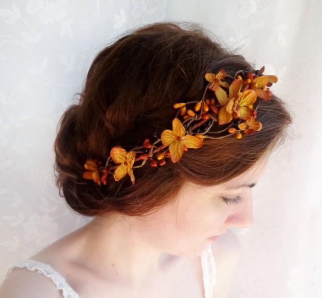 Fall Wedding Hairstyles With Flower Crown: Fall Wedding Hair Accessories, Copper Orange Bridal