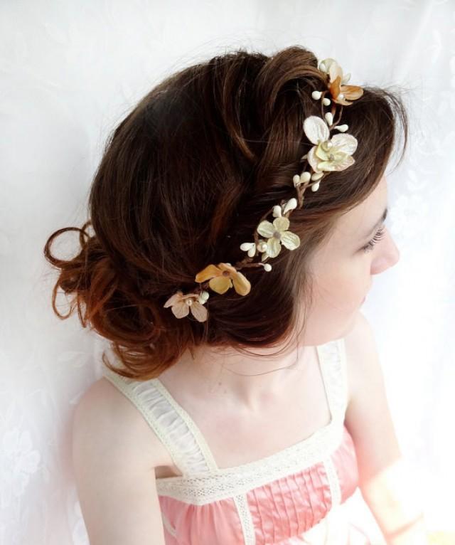 Champagne Bridal Headband Hair Accessories Gold Flower Hairpiece Flower Circlet Halo ...