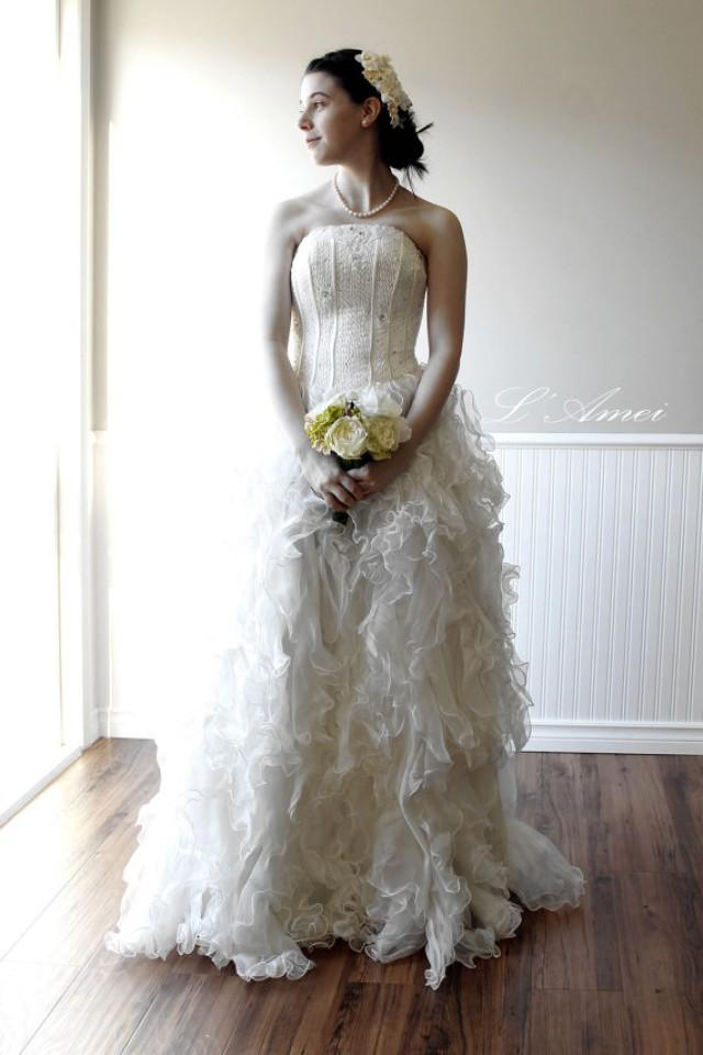 7d6f87d9e6 Premium Organza Ruffle Wedding Gown with bling top , A-line Princess corset  top Ball Gown - New