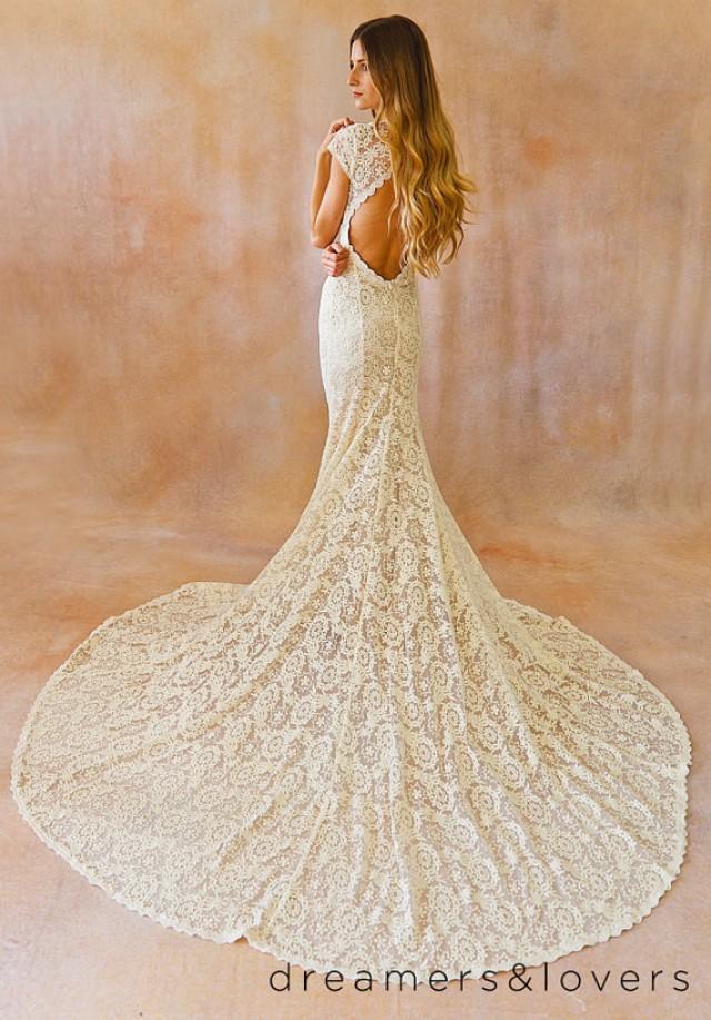 Elegant Wedding Dress Open Back : Backless wedding gown simple and elegant dress with open back