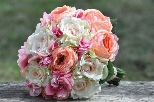 Wedding Bouquet, Keepsake Bouquet, Bridal Bouquet, Made With Pink Hydrangea,  Coral Cabbage