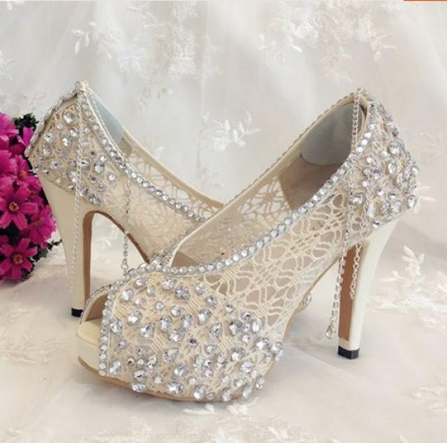 wedding photo - Ivory Shoes Lace Bridal Shoes