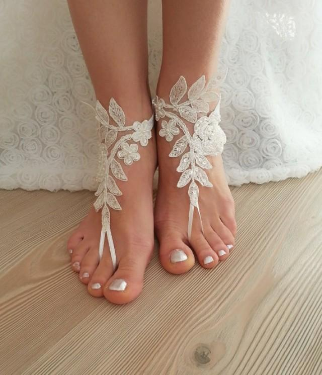 wedding photo - Barefoot Ivory Embrodered  French Lace Wedding Sandals