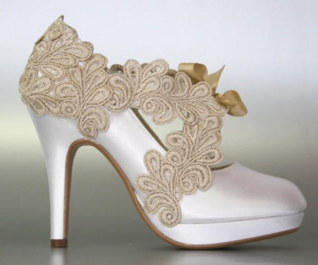 wedding photo - Platform Bridal Shoes with Champagne Lace Overlay