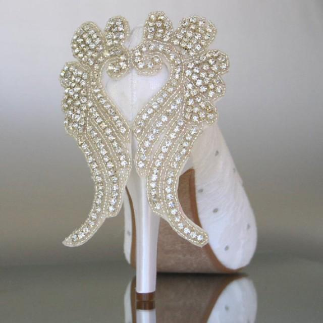 wedding photo - Angel Themed Peep Toe Wedding Shoe