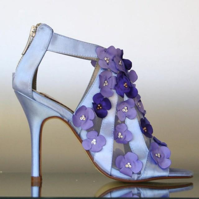 wedding photo - Cornflower Blue Peep Toes with Purple Cascades