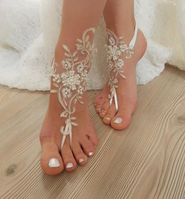 wedding photo - Ivory Gold Beaded Wedding Barefoot Sandals