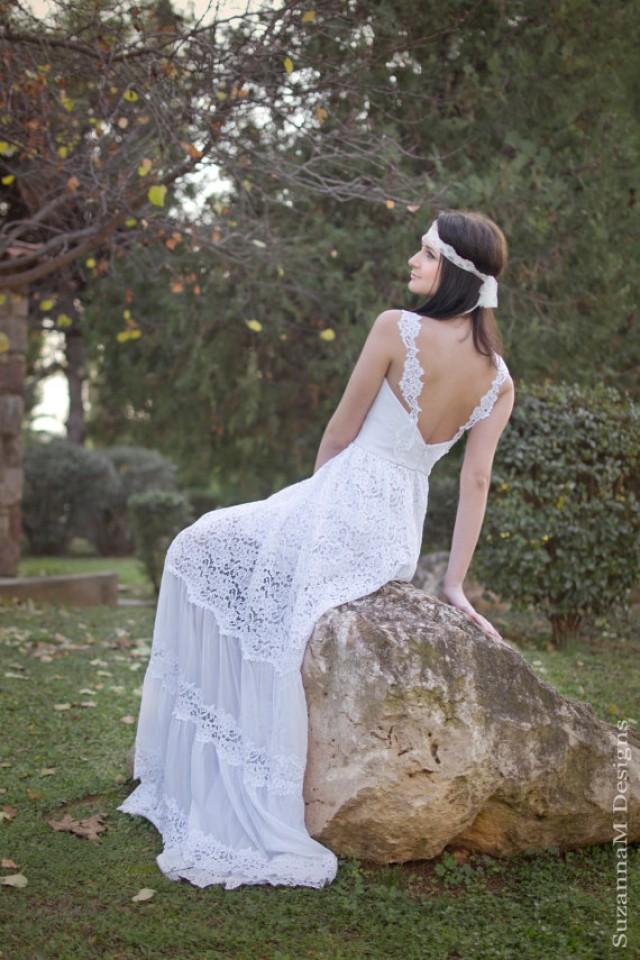 wedding photo - White Bohemian sleeveless wedding dress