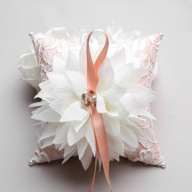 wedding photo - Pillow with white flowers on peach cushion