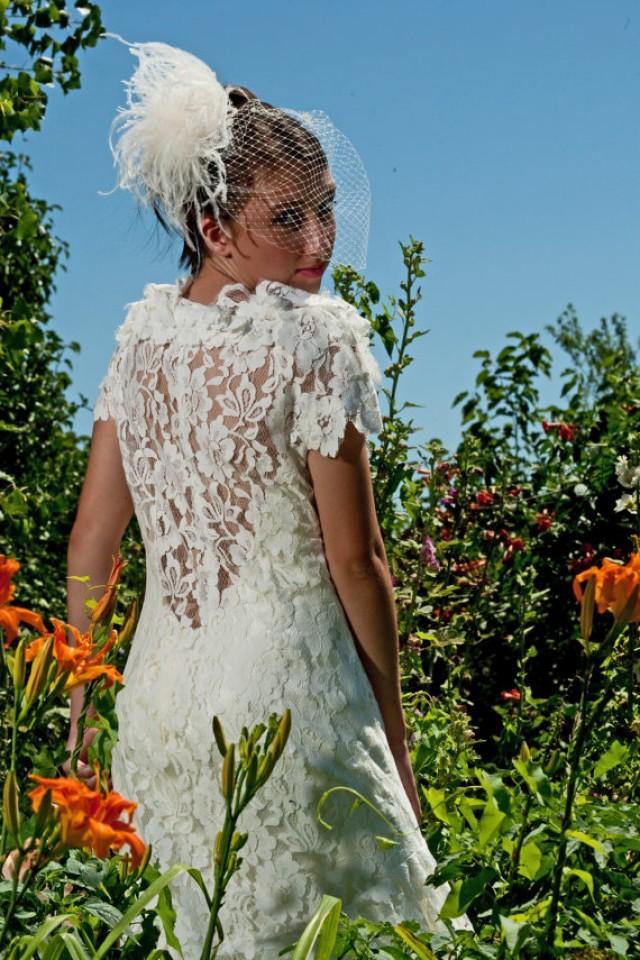 wedding photo - 1930s vintage wedding floral gown
