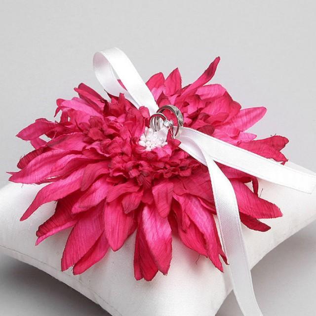 wedding photo - Crimson and white wedding pillow with satin ribbons
