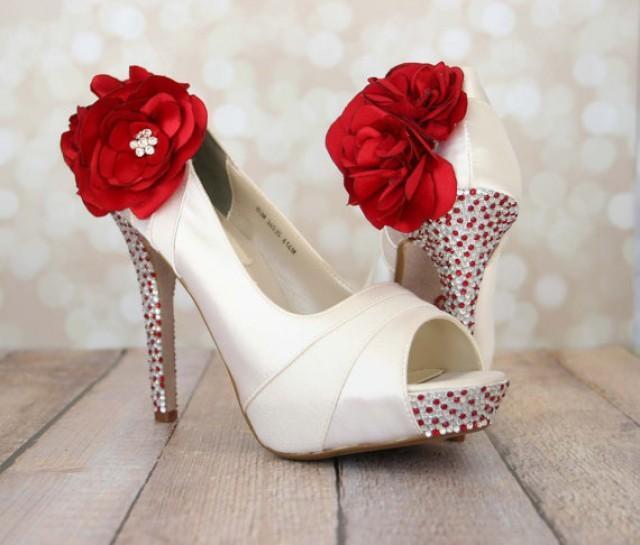 Ivory Platform Peep Toe Wedding Shoes With