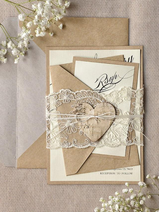 custom listing 100 rustic lace wedding invitation calligraphy wedding invitations recycled lace wedding invitation eco invitation new 2355036