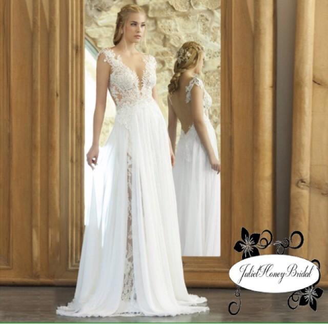 Boho Wedding Dress Open Back White Lace DressV Neck Casual Bohemian Woodland