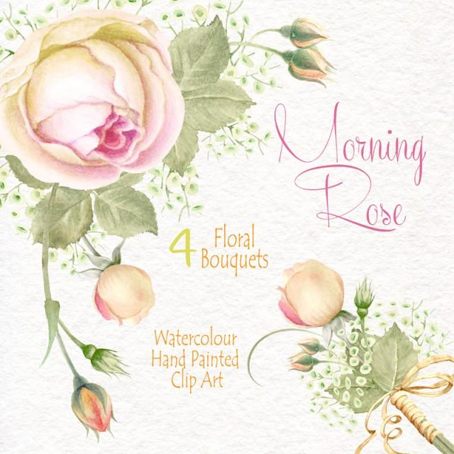 Watercolour Flower Clipart Morning Rose Flowers