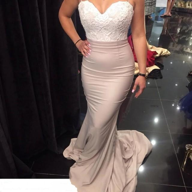 wedding photo - New Arrival Mermaid Backless Lace-Top Spaghetti Straps Bridesmaid Dresses