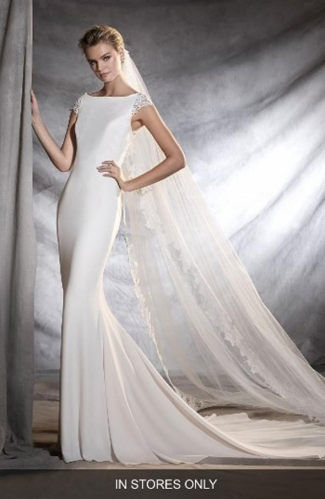 05703a269e9 Pronovias Olbia Cap Sleeve Lace Back Crepe Mermaid Gown (In Stores Only)