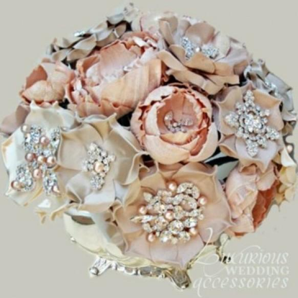 Bridal Bouquets With Vintage Brooches : Vintage wedding bouquet handmade custom brooch